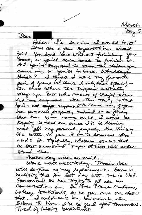 Carrie's Letters From Jail - Transom