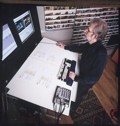Murch editing Cold Mountain at Old Chapel Studios in London, 2003