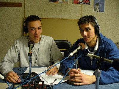 Adam and Justin prepare to host an episode of Incarcerated Youth Speak Out