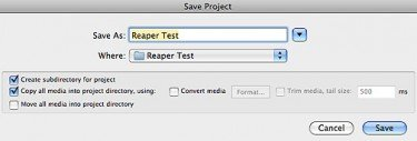 REAPER - Save As