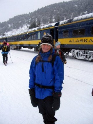 Elizabeth Arnold catching the Ski Train in Alaska