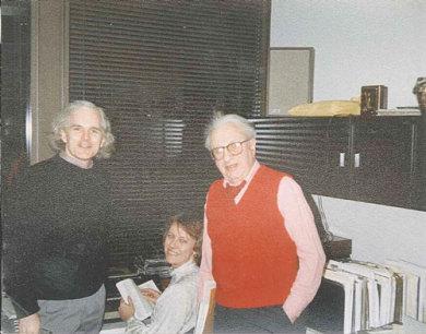 George Drury, Librarian Andi Lamoreaux, and Studs Terkel ca 1987