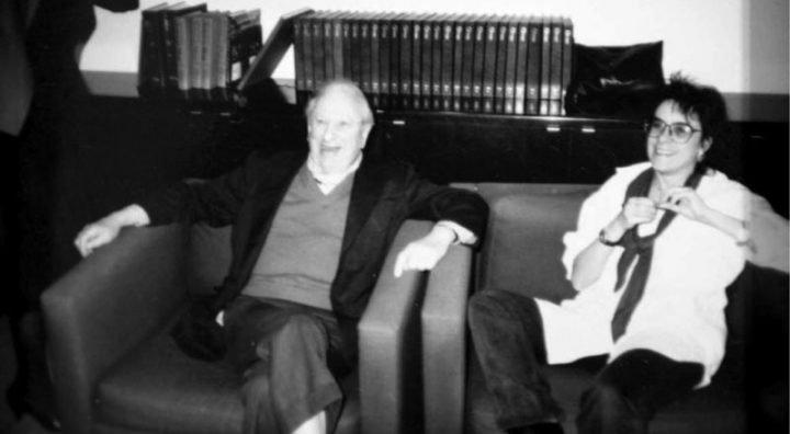 Studs Terkel and Sydney Lewis at WFMT, ca 1989