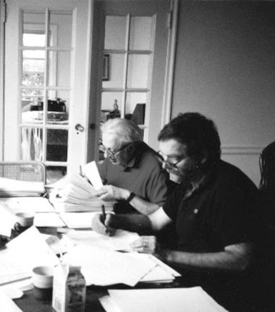 "Studs Terkel and André Schiffrin working on ""Race"" 1991"