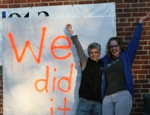 After the 2009 WYSO fund drive; Neenah Ellis on the left with WYSO's All Things Considered host, Emily McCord