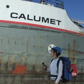 Allison Swaim boarding the boat Calumet