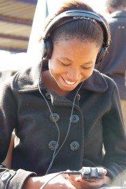 Photo of Mashoto Mphahlele recording