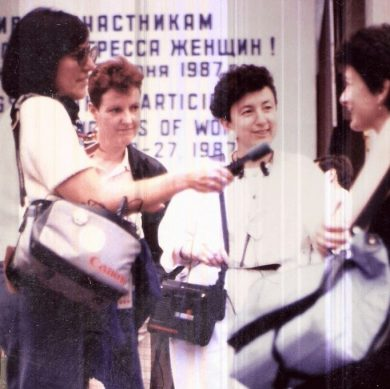 Nan Rubin (with mic) and Helene Rosenbluth doing interviews in Moscow for the award-winning series 'Women's Summit for Peace.'1987