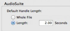 AudioSuite dialog window, clip Handle Length