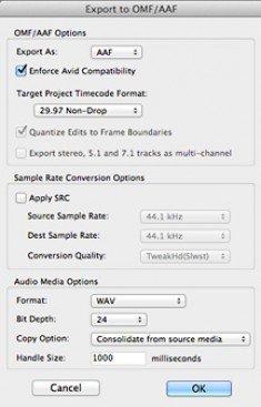 Export to OMF/AAF dialog window