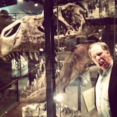 photo of Robert Krulwich and a TRex