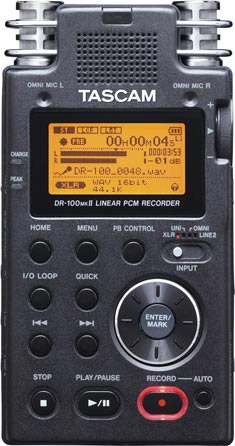 Tascam DR-100mkII recorder, front view