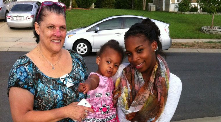 Barbara, Kalia, and Destiny outside their home in North Carolina in 2012. Photo by Pat Walters.