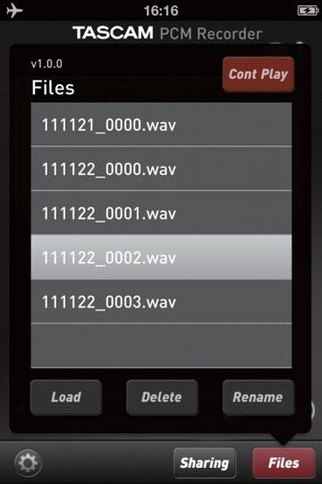Tascam PCM Recorder App: sound-files