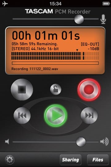 Tascam PCM Recorder App: record meter and controls