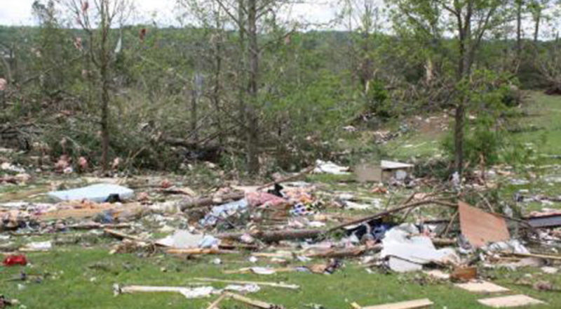 Devastation near the home of Virgina and Tim Miller in Apison, Tennessee after the deadly tornado of April 27, 2011. (Photo by the Millers.)