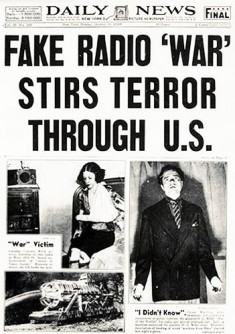 War of the Worlds article, front page, Daily News 1938