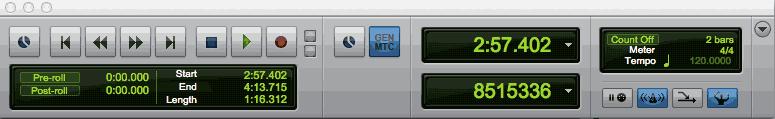 Pro Tools (screenshot) dialog window for Transport