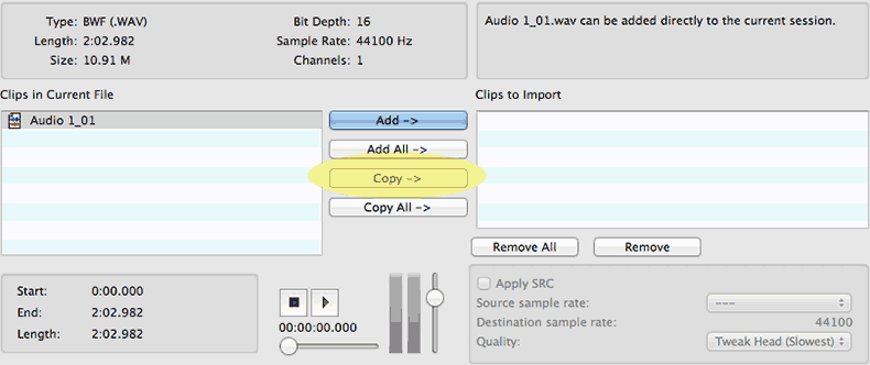Pro Tools (screenshot) dialog window for Import Audio
