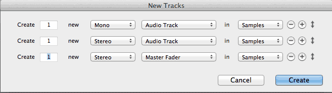Pro Tools (screenshot) dialog window for New Tracks
