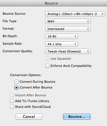 Pro Tools: Mix- Bounce dialog screen
