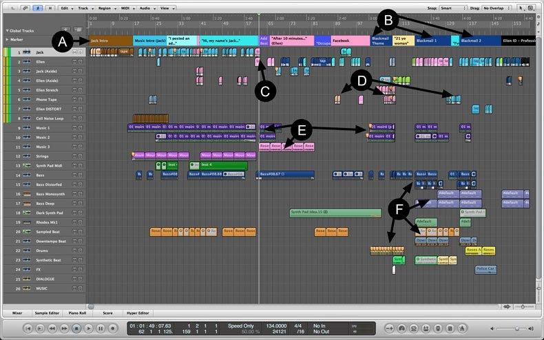 "Screenshot of ""Jack and Ellen"" editing session"