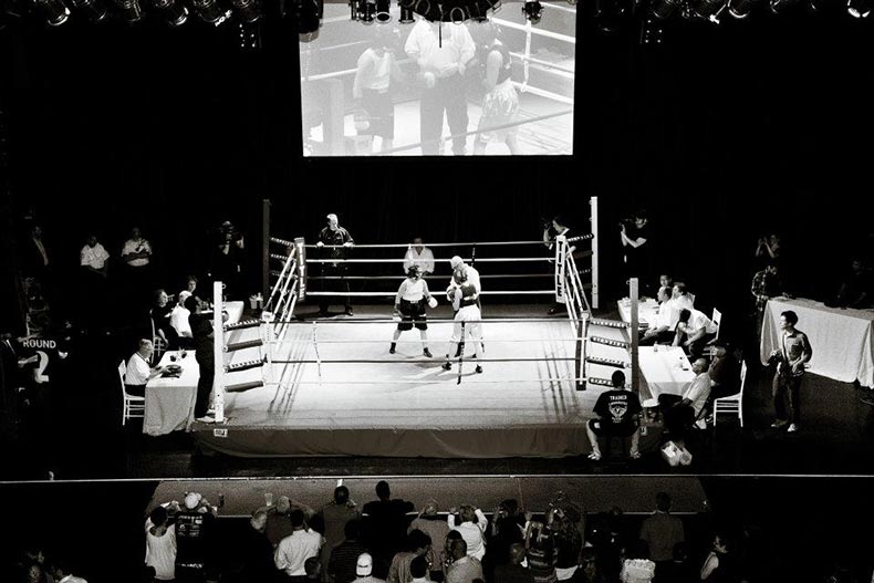 Stacy and opponent in the fight ring