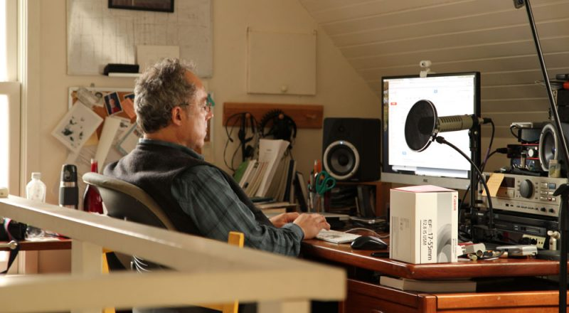 Jon Miller in his attic office in Ithaca, NY.
