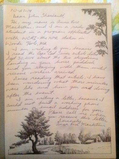 Anna Rose's letter to John Theriault