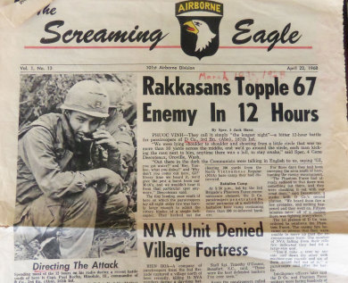 Paul Bucha on the front page of The Screaming Eagle