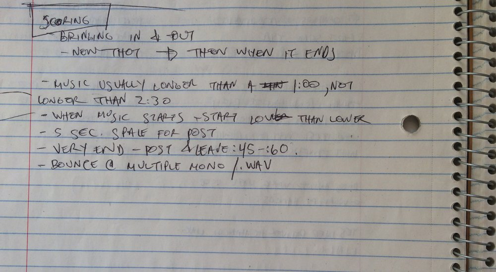 Jonathan's notes on scoring when he was trained by Julie Snyder.