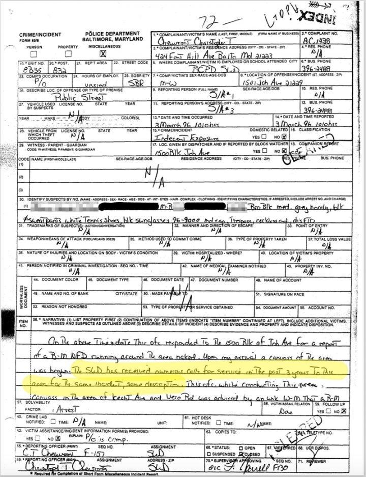 photo of report of indecent exposure