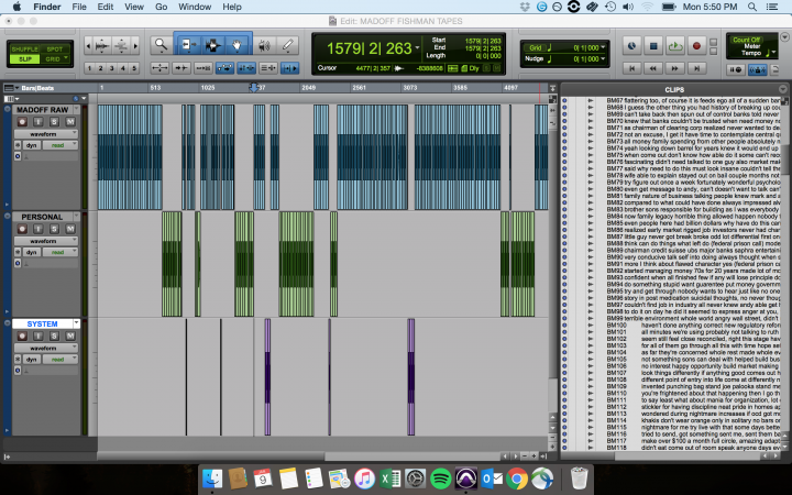 Pro Tools session for Ponzi Supernova.
