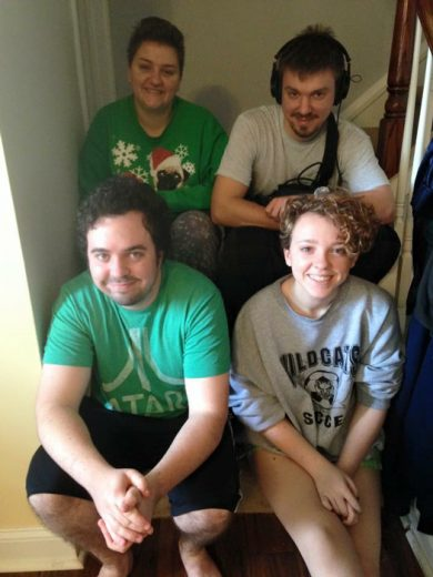 A picture of my siblings and me on Christmas 2015, when I was recording the material that would become Blink Once For Yes.