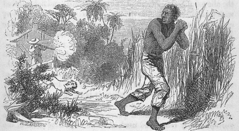 image of slave running away